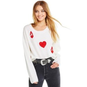 NWT WILDFOX Ace of Hearts Distressed Sweater L